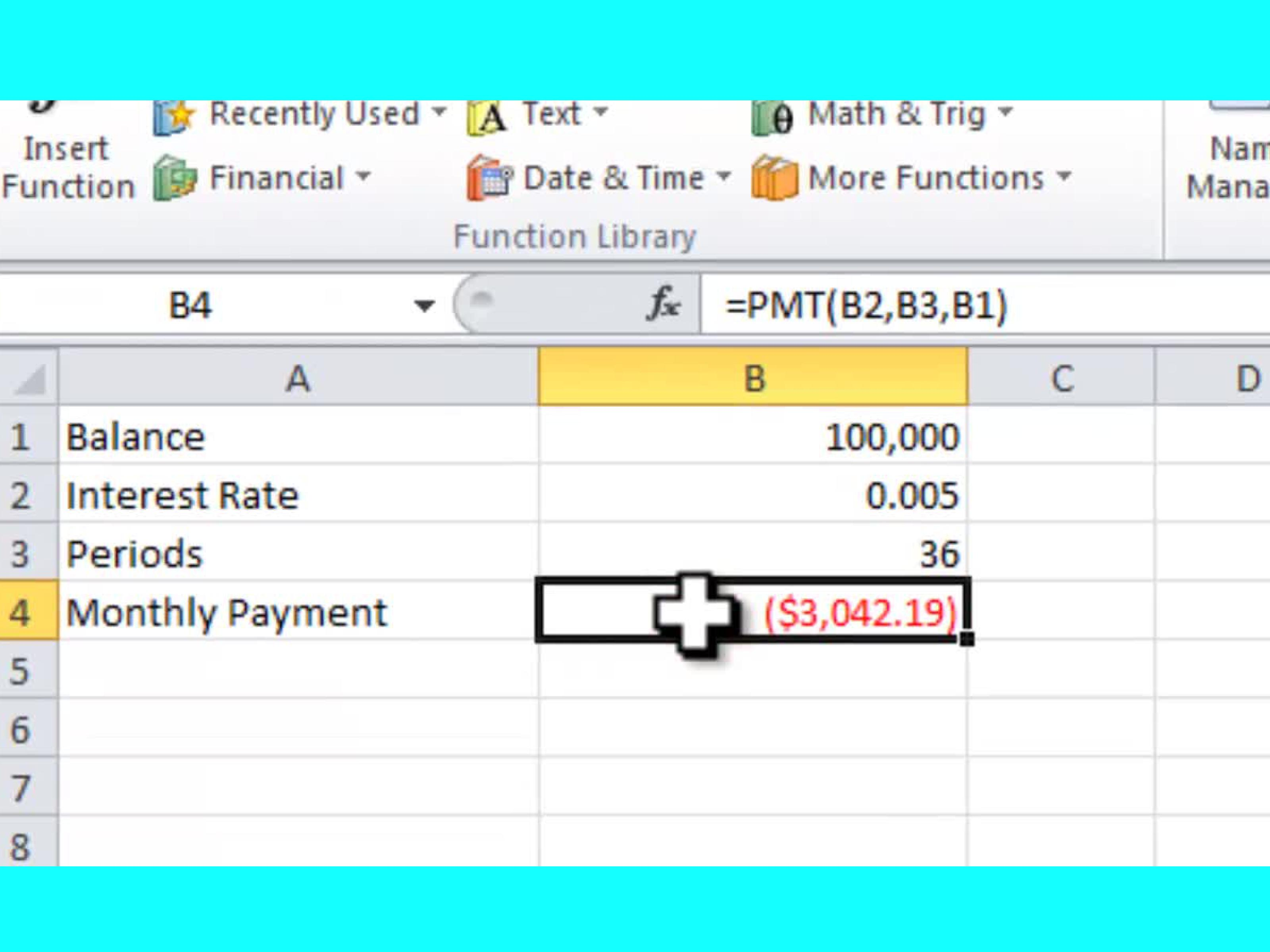 Download Excel Pmt Function Example