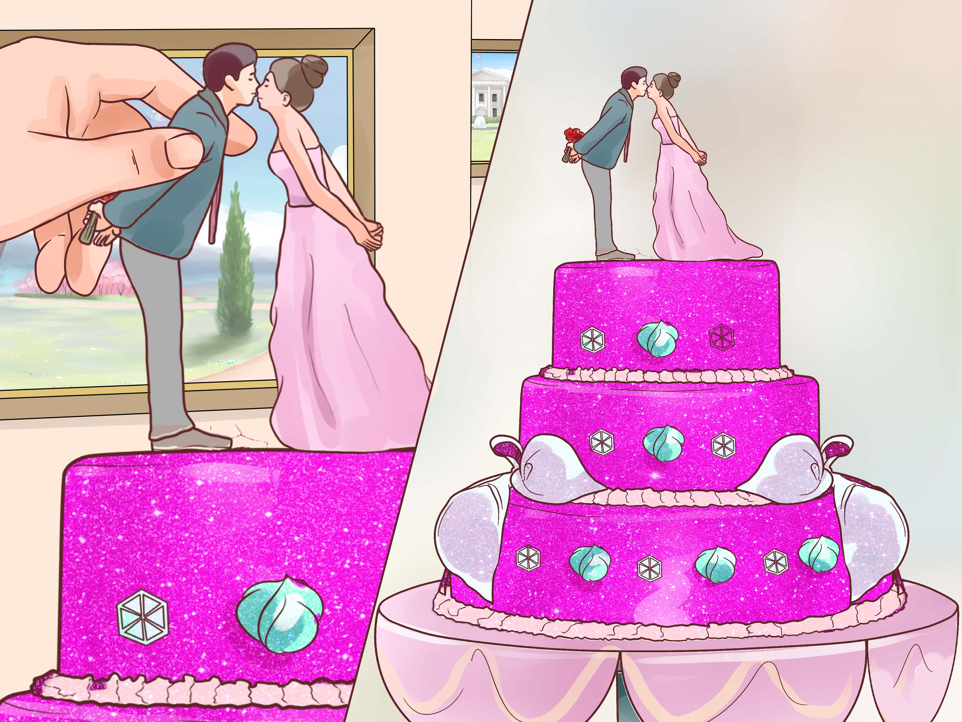 How To Decorate A Wedding Cake With Pictures