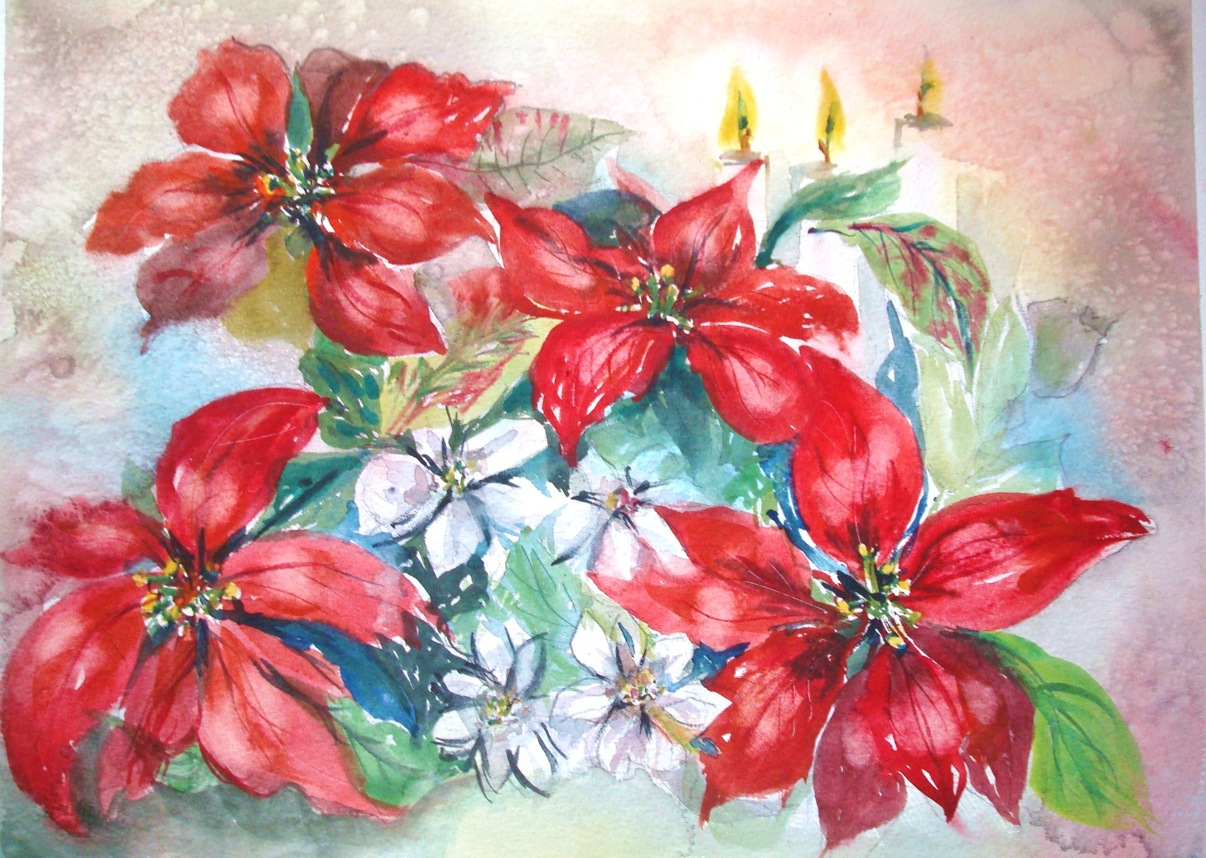 How To Paint Red Poinsettias In Watercolor With Pictures