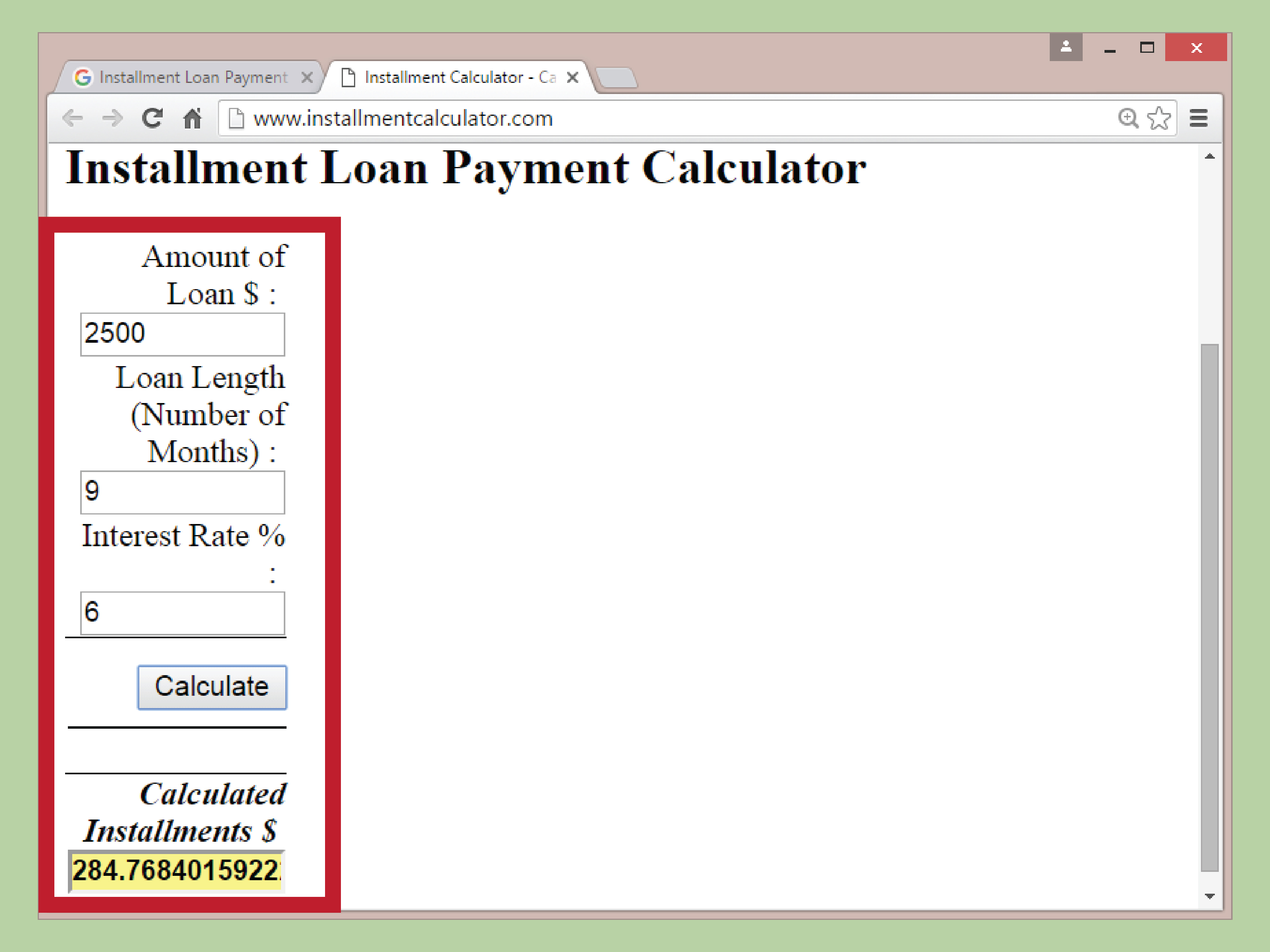 Installment Loan Formula