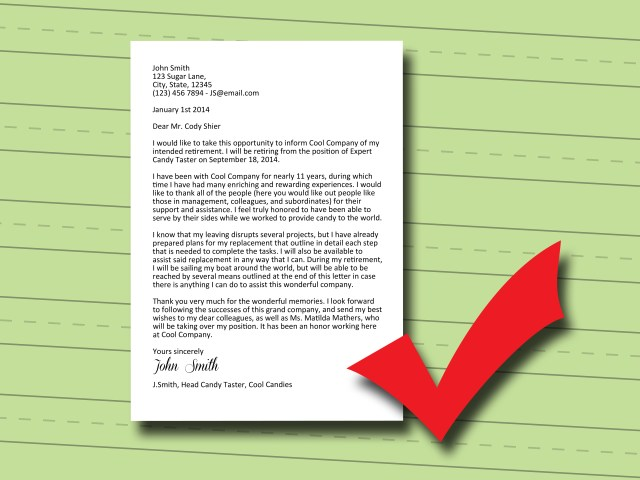 How to Write a Retirement Letter: 11 Steps (with Pictures)