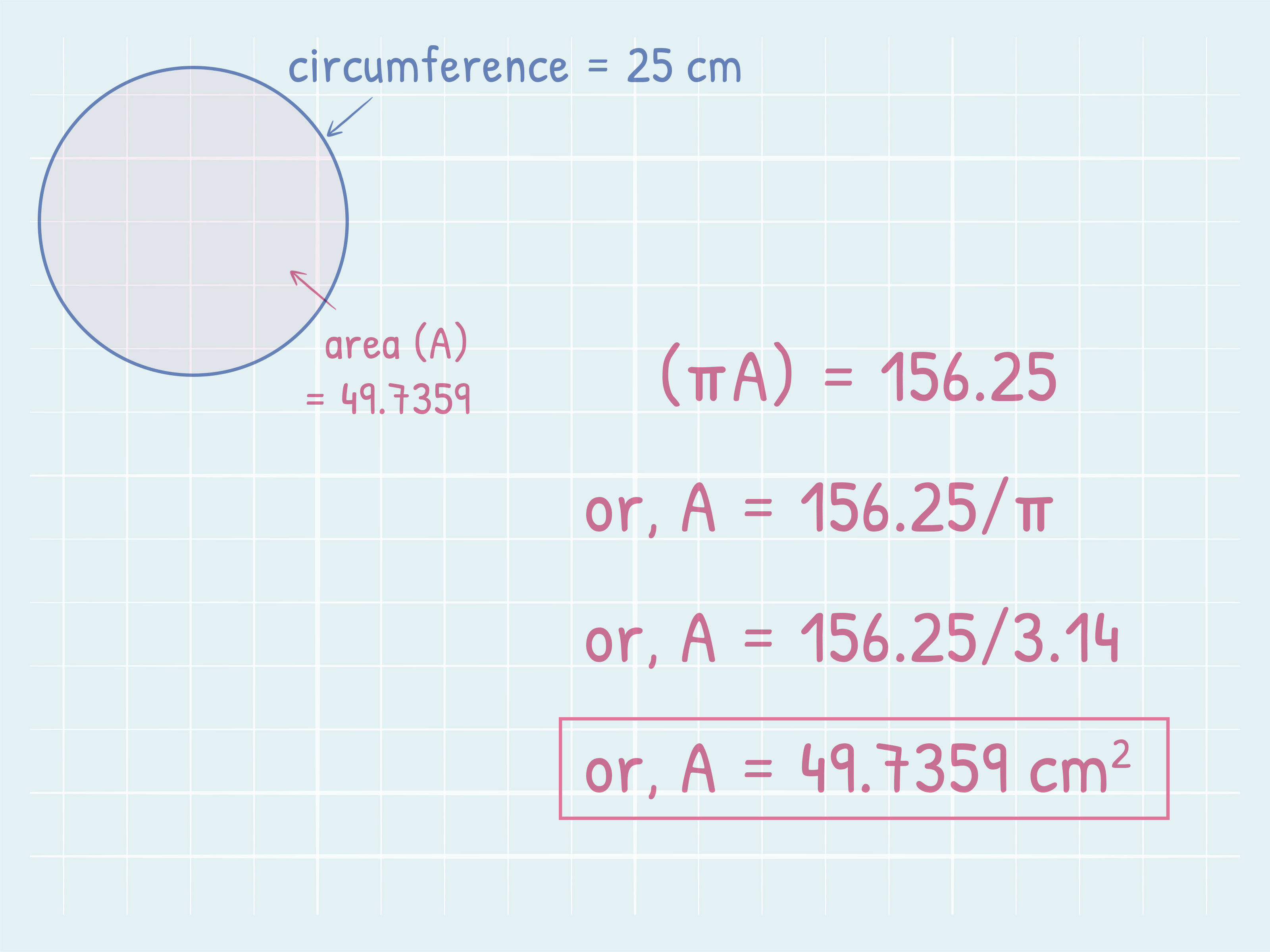 How To Find The Area Of A Circle Using Its Circumference