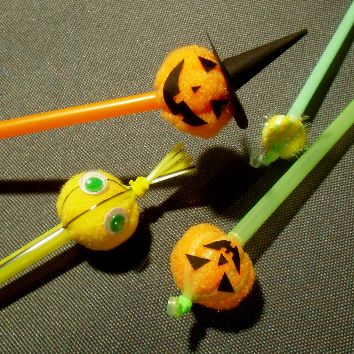 How To Make A Straw And Pompom Jack O Lantern Puppet 9 Steps