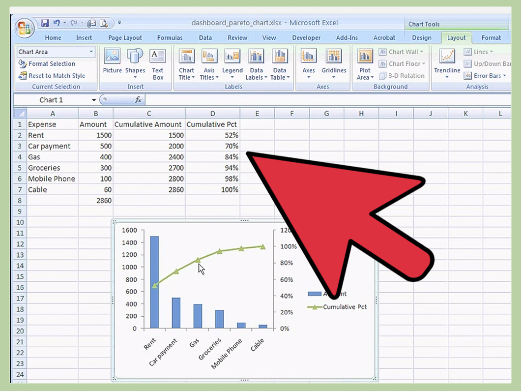 How To Create A Pareto Chart In Ms Excel 14 Steps