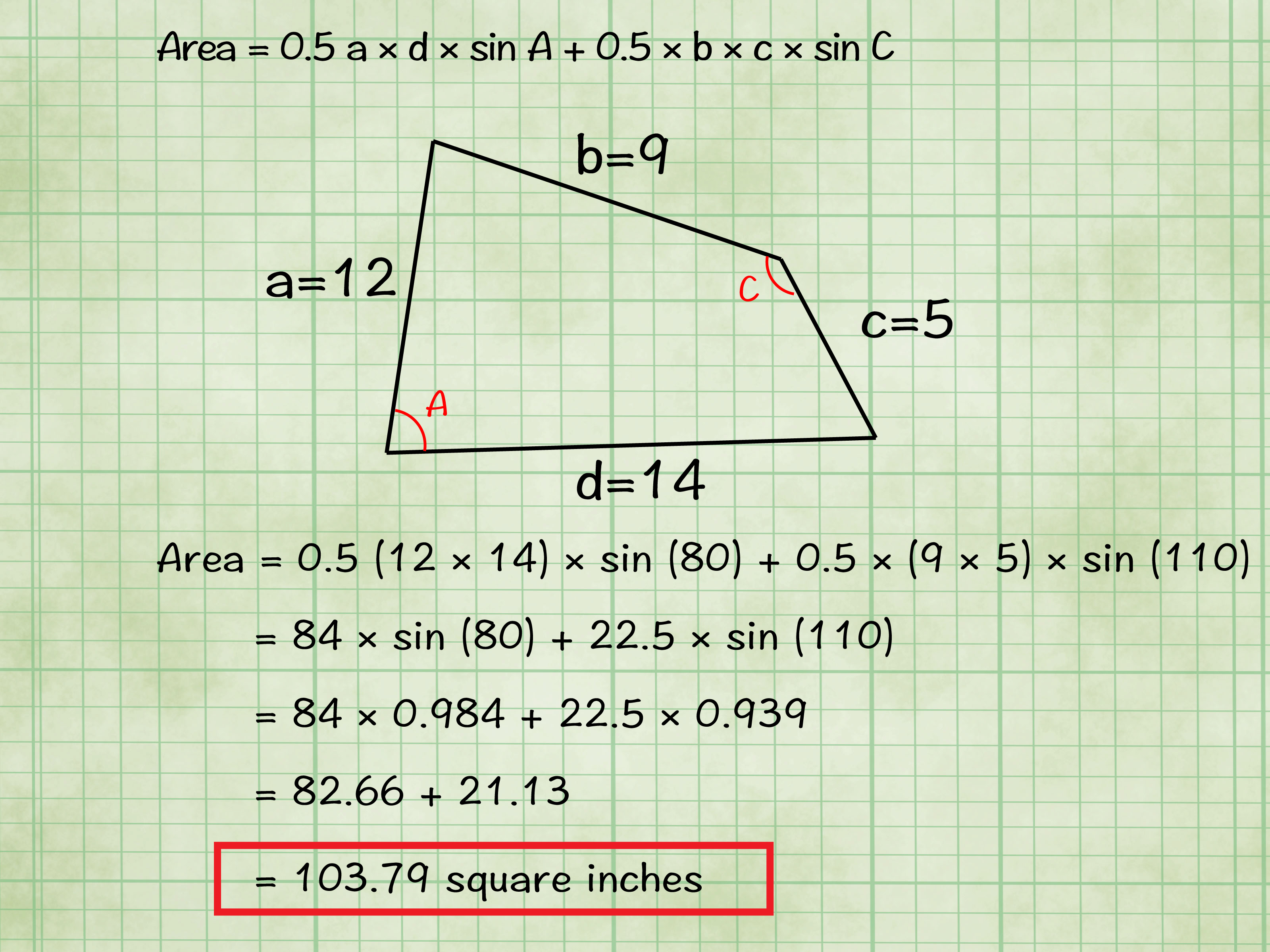 How To Find The Area Of A Quadrilateral With Cheat Sheets
