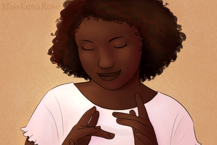 Autistic Girl Smiling and Finger Flicking.png