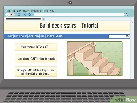 3 Ways To Build Deck Stairs Wikihow | Building Deck Steps With Stringers | Landing | Stair Treads | Deck Railings | Outdoor | Pressure Treated