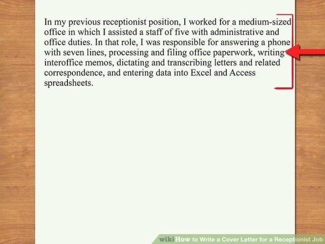 Hospital Receptionist Job Lication Letter