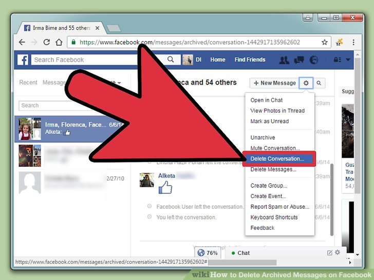 how to permanently delete facebook messages from friends inbox
