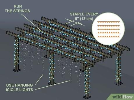 3 ways to hang pergola lights wikihow