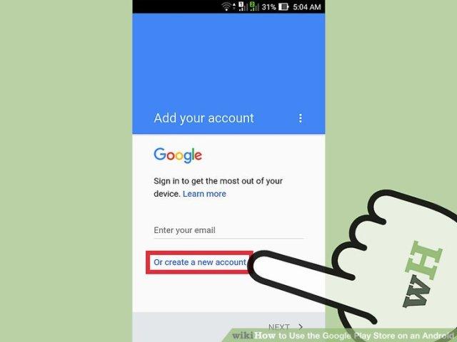 Znalezione obrazy dla zapytania how to sign up google android
