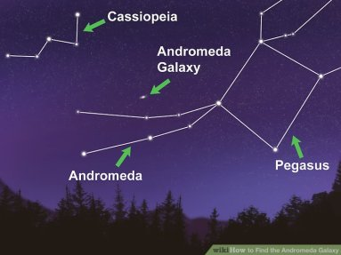 Image result for The Andromeda Galaxy & the Perseus Double Cluster are cozying up, high toward the east early these evenings, to the right of Cassiopeia .