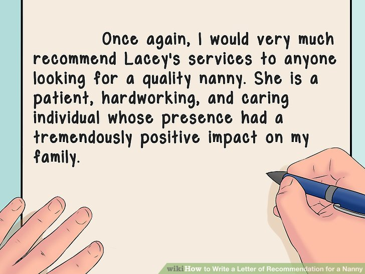 How To Write A Letter Of Recommendation For Nanny With Sample
