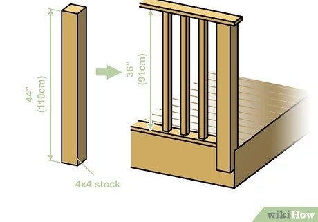 How To Build A Deck Railing With Pictures Wikihow   Building Deck Stair Railings   Outdoor Stair   Balusters   Porch Railing   Porch   Stair Treads