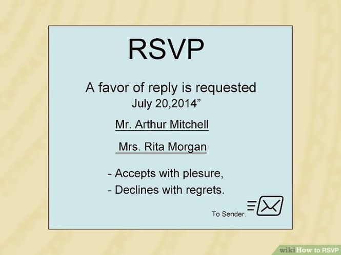 How To Rsvp With Sample Notes Wikihow