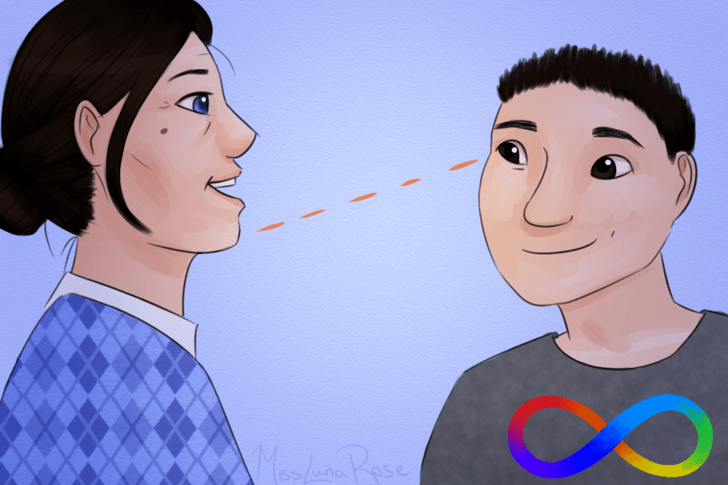 Autistic Boy Feigns Eye Contact While Talking to Woman.png
