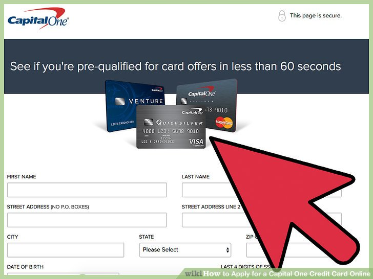 Capital One Credit Application Card