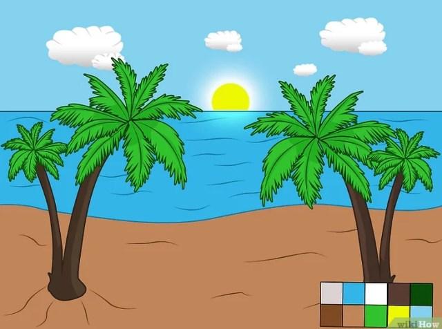 Cara Menggambar Pemandangan Pantai dengan Garis Lengkung