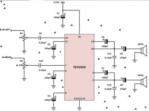 Skema Power Amplifier 5 Watt Stereo IC TEA2025 - Skema Power Amplifier 5 Watt Stereo IC TEA2025 - Skema Diagram
