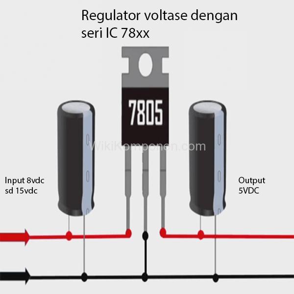 Gambar skema pemasangan regulator bagian Menurunkan tegangan menggunakan IC Regulator