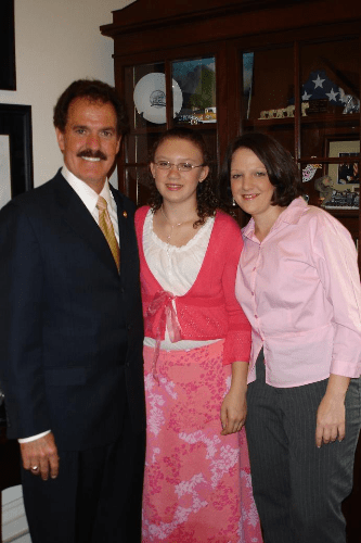 From left to right, Congressman Phil Gingrey, Masha and Faith Allen shortly before Masha's congressional testimony to the Energy and Commerce's Subcommittee on Investigation and Oversight on May 3, 2006.