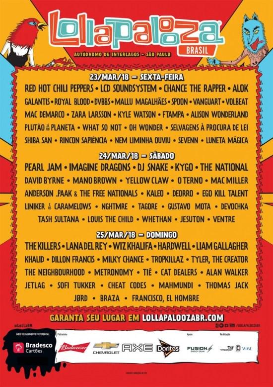 Lollapalooza Brasil divulga lineup completo por dia