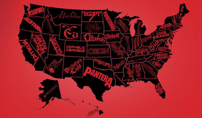 A melhor banda de Metal de cada estado dos Estados Unidos