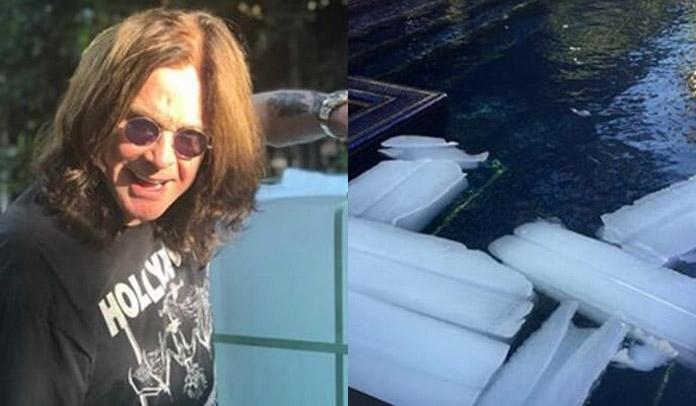 Ozzy Osbourne compra 1400 quilos de gelo para se refrescar no calor de Los Angeles