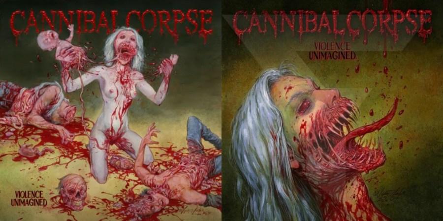 Versão censurada da capa de 'Violence Unimagined' (esq.) e capa alternativa (dir.), do Cannibal Corpse