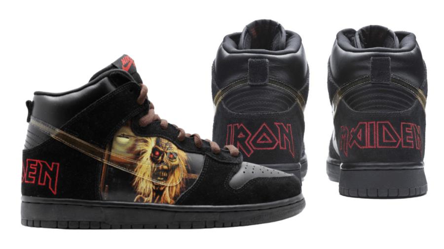 Tênis raro do modelo Nike Dunk SB High Iron Maiden