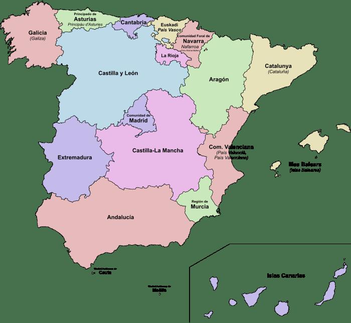 De  Bestuurlijke Indeling Van Spanje