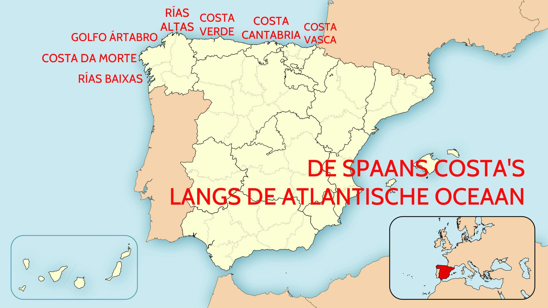 De Spaanse Costa's Langs De Atlantische Oceaan Van Spanje