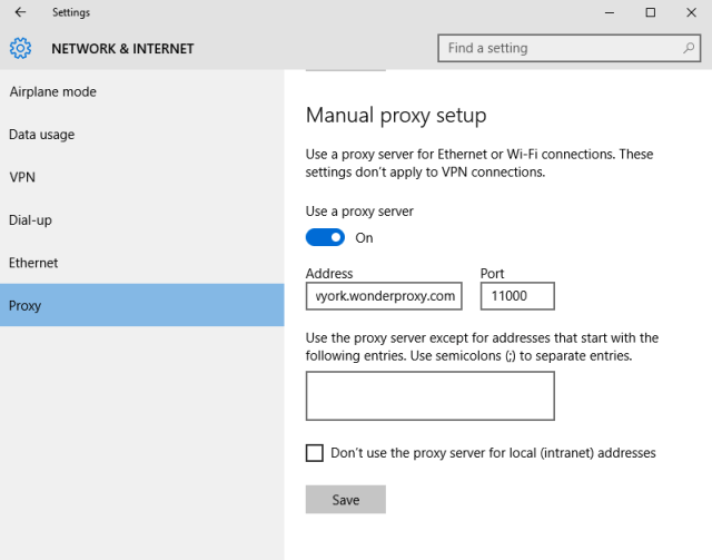 proxy settings in windows 10