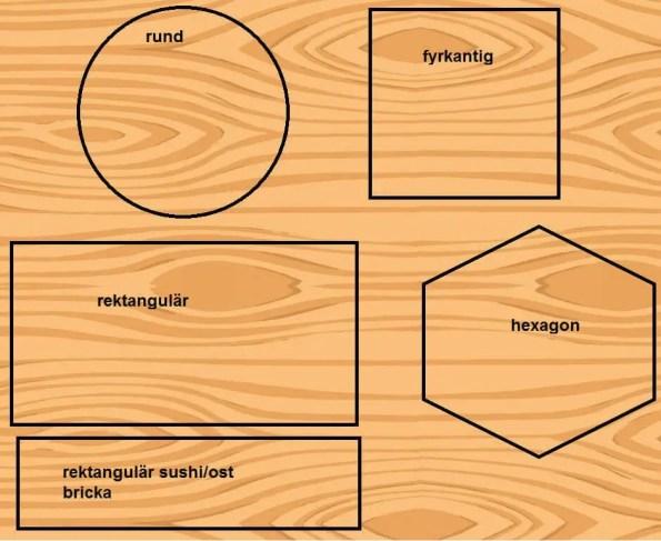 Träbrickor i olika former