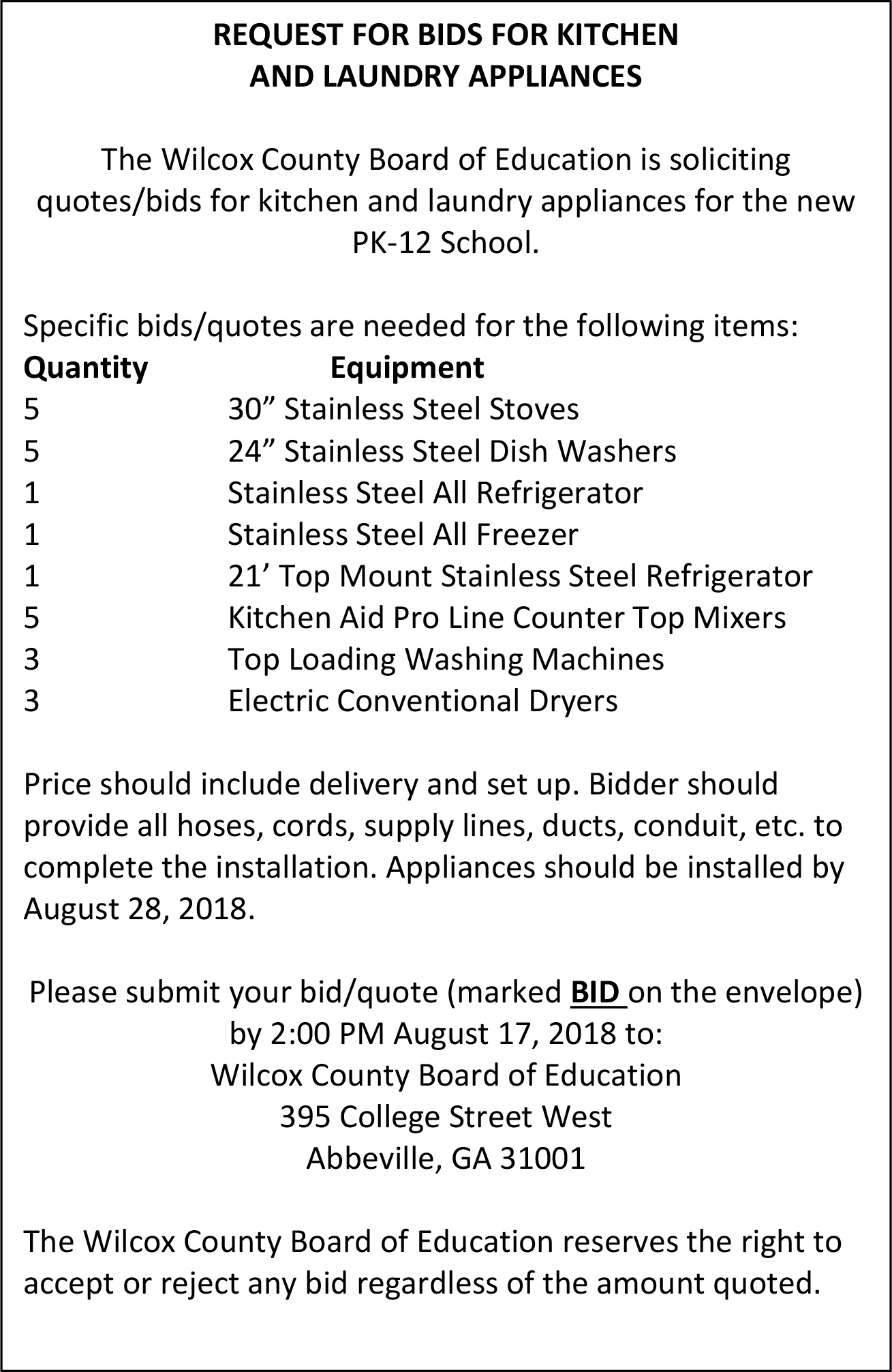Request for Bids for Kitchen and Laundry Appliances – Wilcox County ...