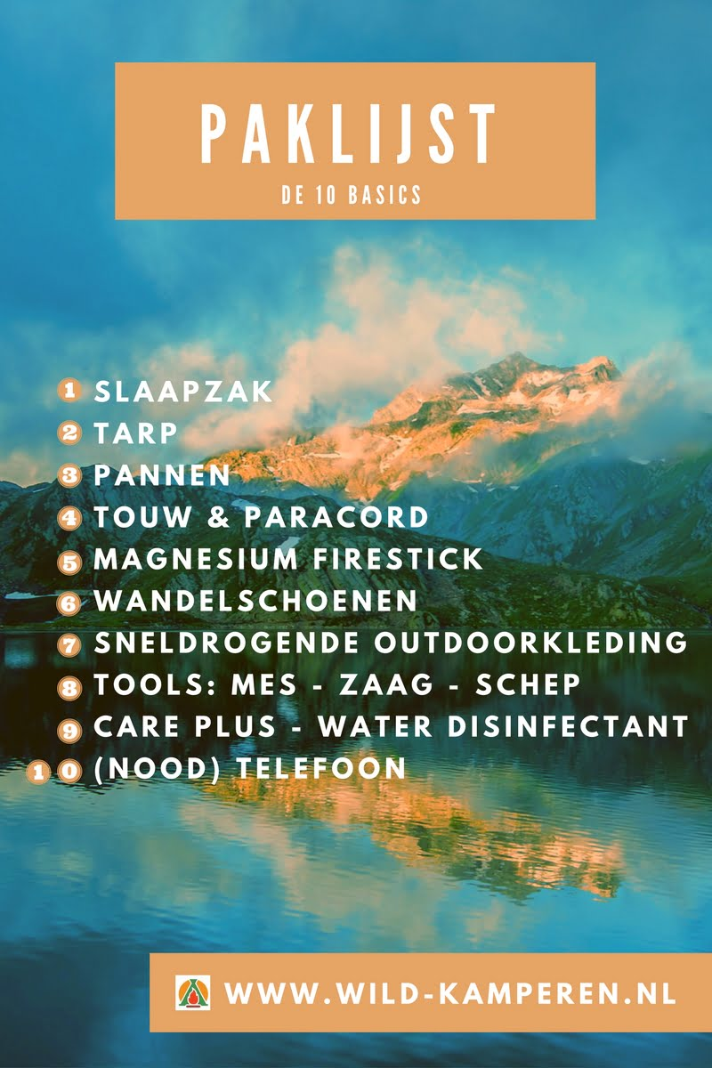 Paklijst voor wildkamperen