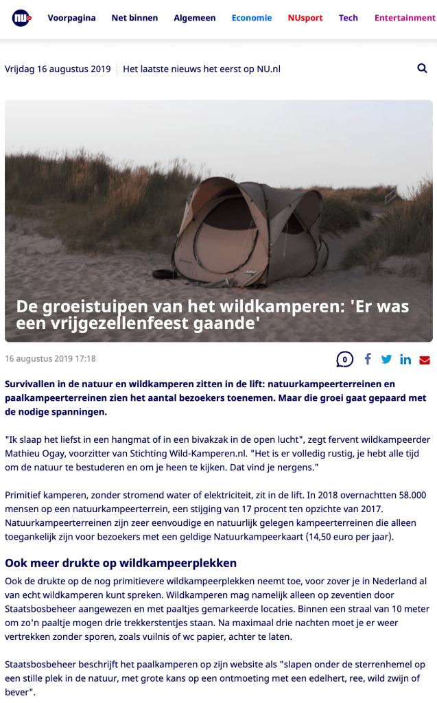 Stichting Wild-Kamperen luidt noodklok: paalkamperen onder druk!