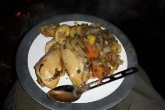 Coq a la bière met gepofte aardappelen