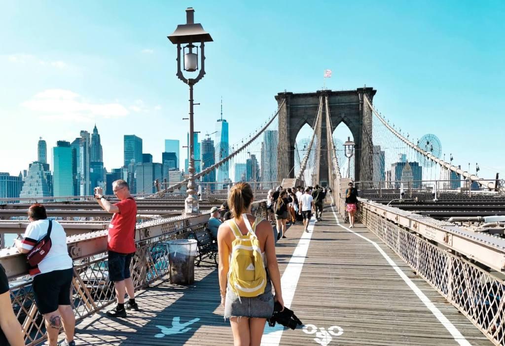 Spaziergang Brooklyn Bridge New York