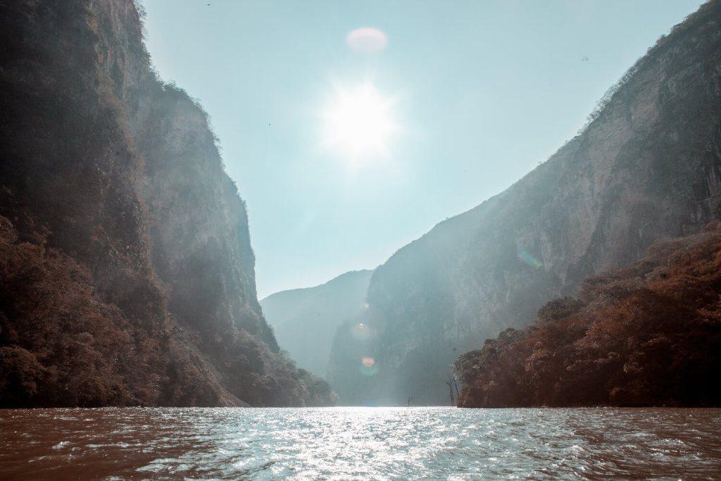 Canyon del Sumidero in Chiapas Sonne