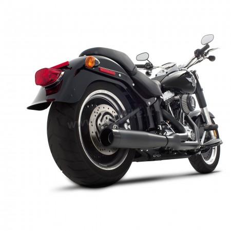 exhaust system rinehart cross back 2into1 black for harley davidson fxs fls softail 86 17