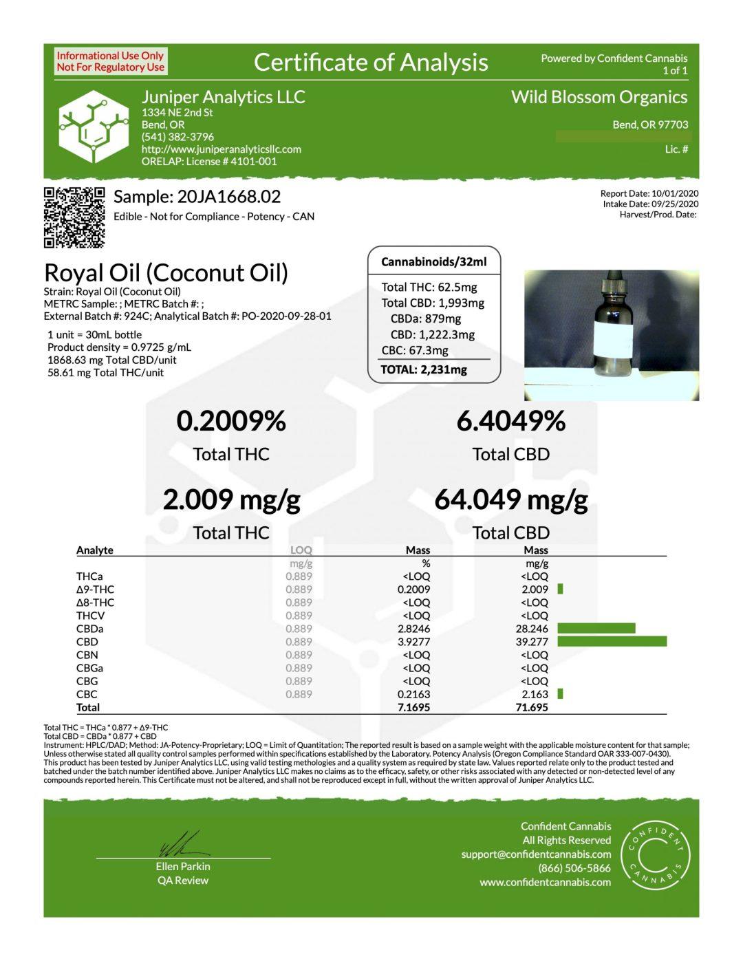 Royal Oil CBD oil - 2,000mg CBD