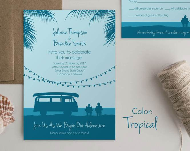 Camper Van Wedding Invites Beach Wild Blue Weddings