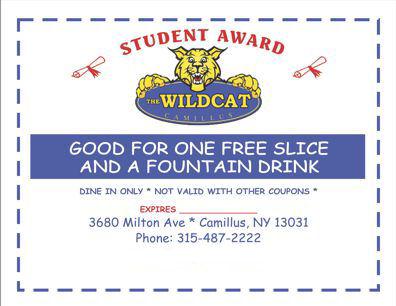 Wildcat - free slice & soda - Student Award