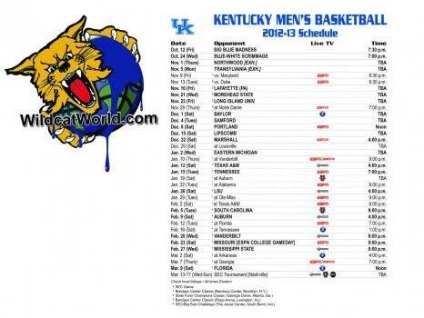 Kentucky Basketball Schedule 2012-2013