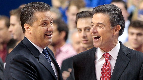 Calipari and Pitino - photo by Mark Cornelison/Lexington Herald-Leader/MCT/Getty Images