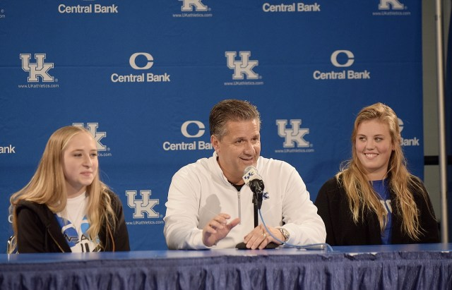 Coach Cal awarded scholarships to Kelsey Saylor and Jordan Evers after last year's Blue-White Game. (photo by Chris Reynolds)