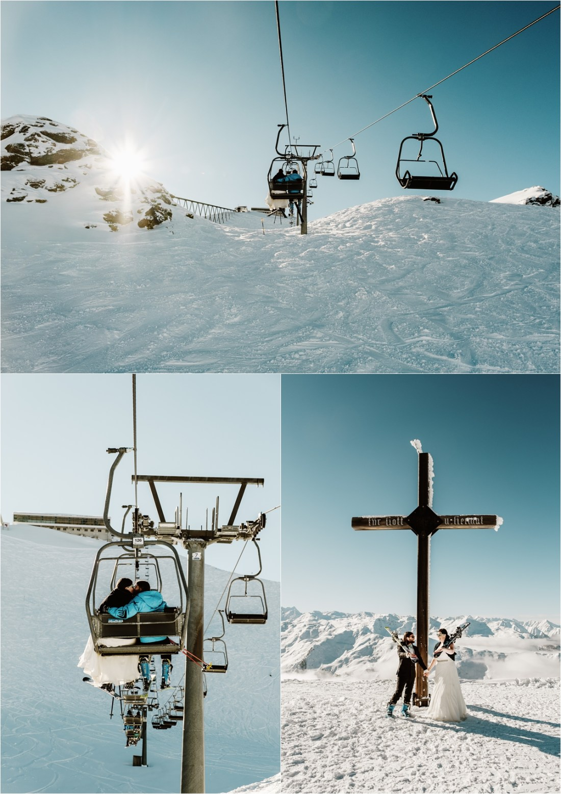 Bride and groom ride the chairlift for the skiing wedding shoot in Axamer Lizum by Wild Connections Photography