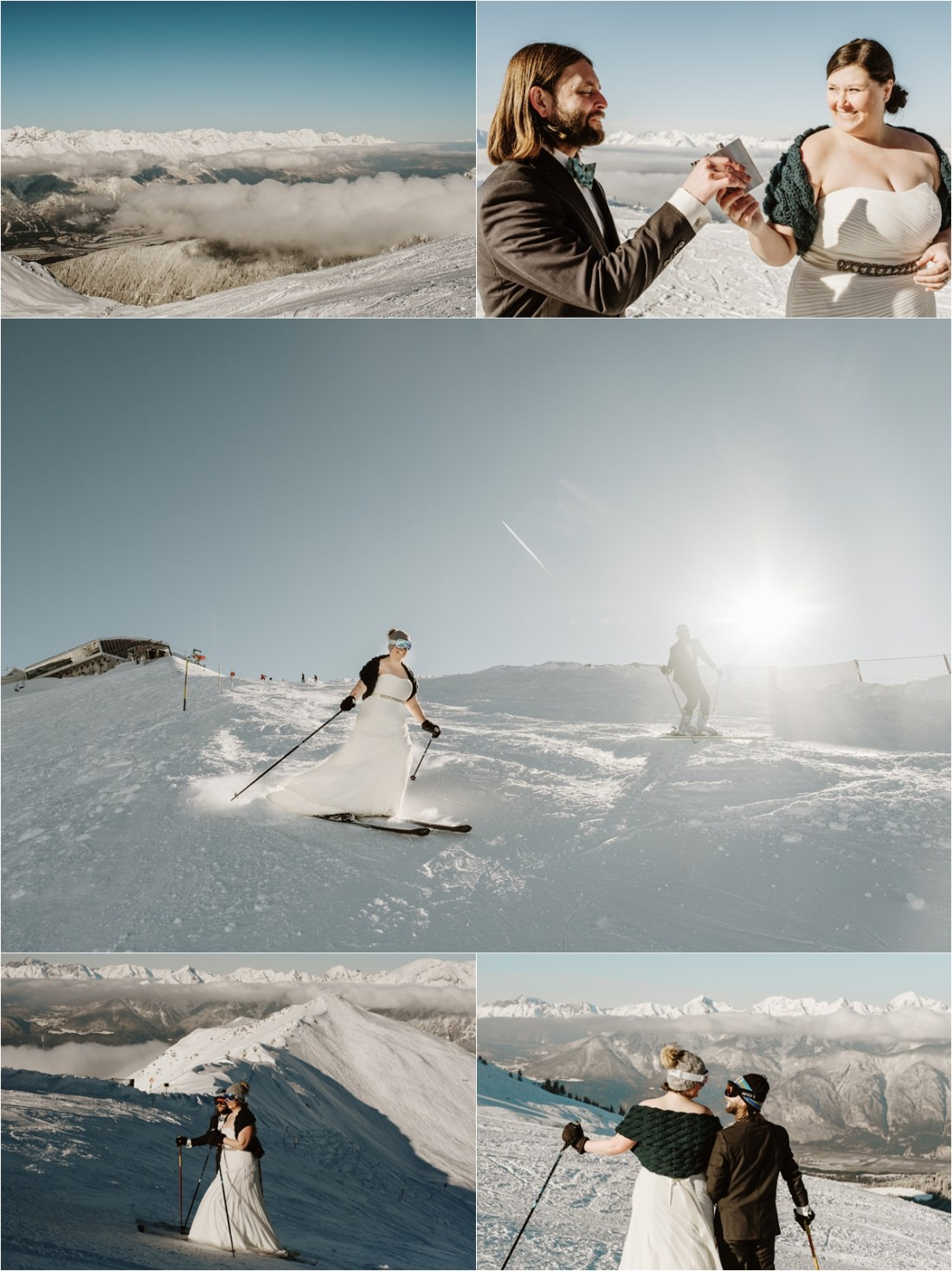 Abby & Jeff's trash the dress skiing wedding shoot by Wild Connections Photography