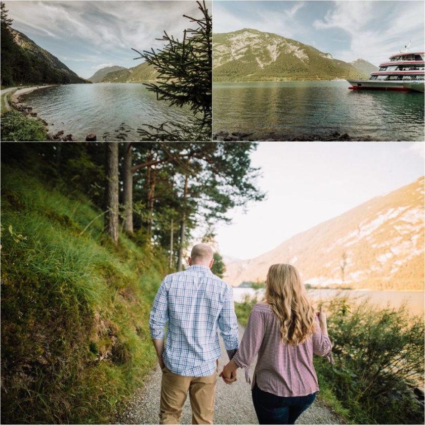 Couple walking hand in hand around Lake Achensee